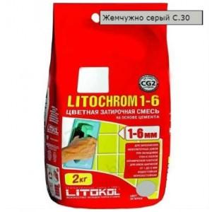 Затирка LITOCHROM 1-6 С.30 жемчужно-серая 2 кг 195  СК000009581