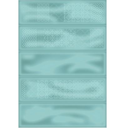 Плитка настенная Метро 4Д зеленый декор  729  СК000028539